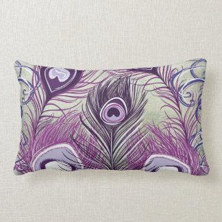 Pretty Purple Peacock Feathers Elegant Design Pillows