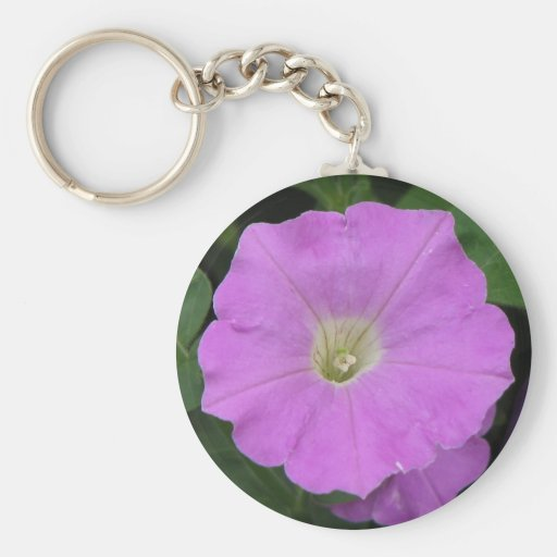 Pretty Purple Petunia Basic Round Button Keychain