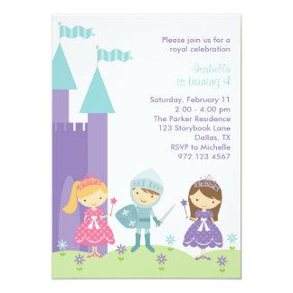 "Pretty Purple, Pink and Teal Princess Invitation 5"" X 7"" Invitation Card"