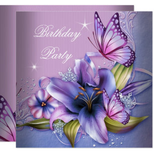 Pretty purple flower invitations zazzle pretty purple pink butterfly flowers birthday invitation mightylinksfo
