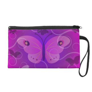 Pretty Purple Pink Butterfly Large Clutch Purse