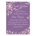 Pretty Purple & Pink Flower Birthday Invite