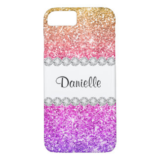 Pretty Purple Pink Glitter White Diamond Beautiful iPhone 7 Case