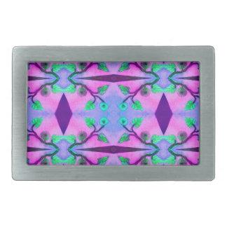 pretty purple pink green flower pattern rectangular belt buckle