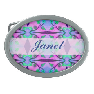 pretty purple pink green flower pattern belt buckles