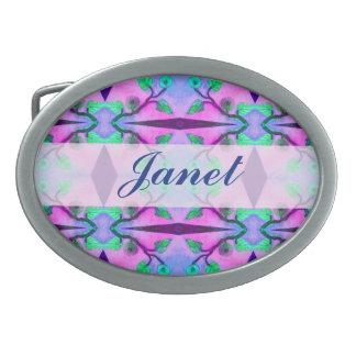 pretty purple pink green flower pattern oval belt buckle