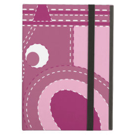 Pretty Purple Pink Owl Stitched Look Pattern iPad Folio Case