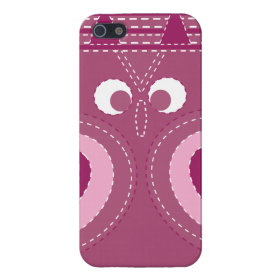 Pretty Purple Pink Owl Stitched Look Pattern Case For iPhone 5