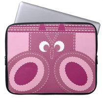 Pretty Purple Pink Owl Stitched Look Pattern Laptop Sleeve