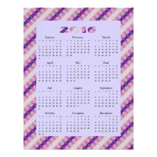 Pretty Purple Pink Ribbons 2016 yearly Calendar Flyer