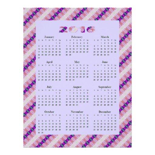 Year Calendar Pretty : Pretty purple pink ribbons yearly calendar flyer zazzle