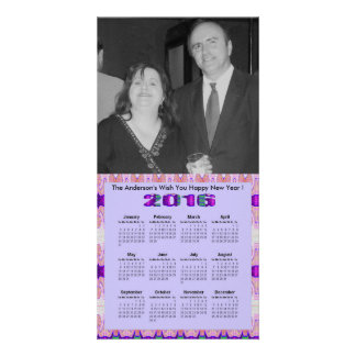 Pretty Purple Pink Ribbons 2016 yearly Calendar Photo Card