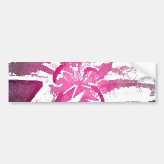 Pretty Purple Pink Watercolor Flower Art Car Bumper Sticker