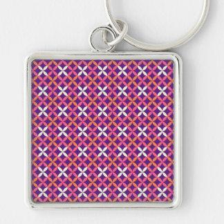 Pretty Purple Pink White Cross Stitch Pattern Gift Keychain