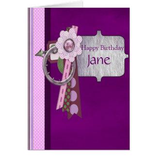 Pretty Purple, Polka Dots & Silver Frame Birthday Card