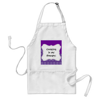 Pretty Purple Polka Dots Wave with Pink Flower Apron