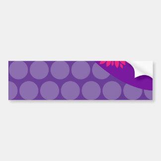 Pretty Purple Polka Dots Wave with Pink Flower Bumper Sticker