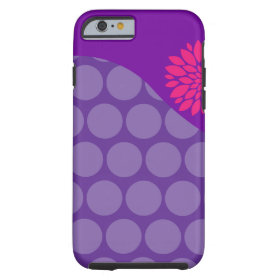 Pretty Purple Polka Dots Wave with Pink Flower Tough iPhone 6 Case