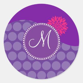 Pretty Purple Polka Dots Wave with Pink Flower Classic Round Sticker