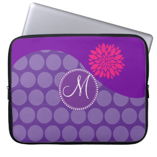 Pretty Purple Polka Dots Wave with Pink Flower Laptop Computer Sleeves