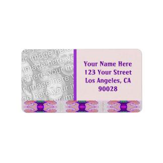 Pretty purple ribbons photoframe label