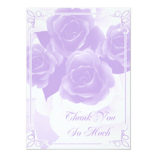 Pretty Purple Rose Thank You Flat Cards