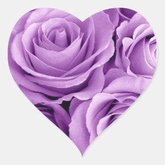 Pretty Purple Roses Heart Sticker