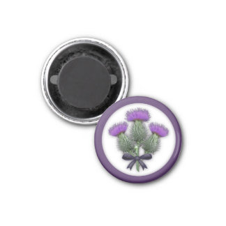 Pretty Purple Scottish Thistles with Tartan Bow 1 Inch Round Magnet