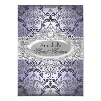 Pretty Purple & Silver Damask Sweet 16 Invite