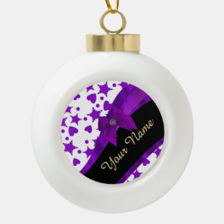 Pretty purple spotty girly pattern personalized ceramic ball christmas ornament
