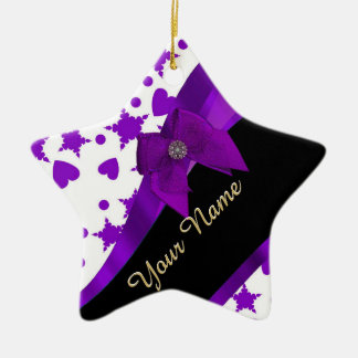 Pretty purple spotty girly pattern personalized ceramic ornament