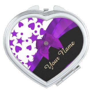 Pretty purple spotty girly pattern personalized makeup mirror