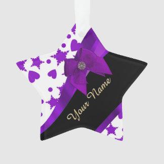 Pretty purple spotty girly pattern personalized ornament