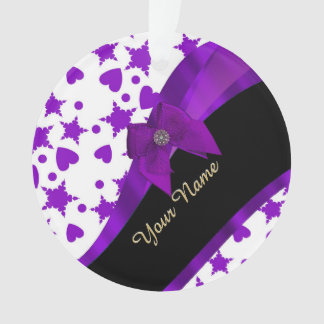Pretty purple spotty girly pattern personalized ornament