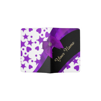 Pretty purple spotty girly pattern personalized passport holder