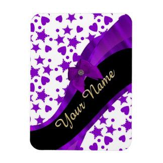 Pretty purple spotty girly pattern personalized rectangular photo magnet