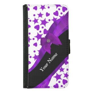 Pretty purple spotty girly pattern personalized samsung galaxy s5 wallet case