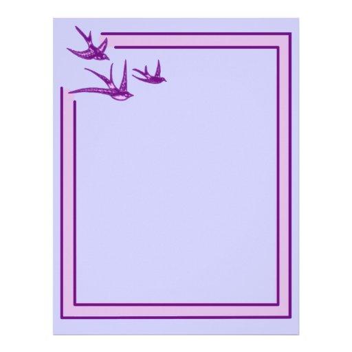 Pretty Purple Swallows on Stationery Letterhead