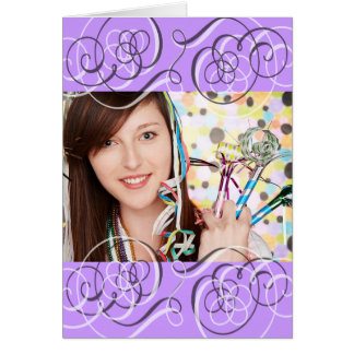 Pretty Purple Swirls Add Your Photo Birthday Card