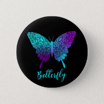 Pretty Purple Teal Big Butterfly Button