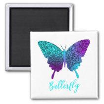 Pretty Purple Teal Big Butterfly Magnet