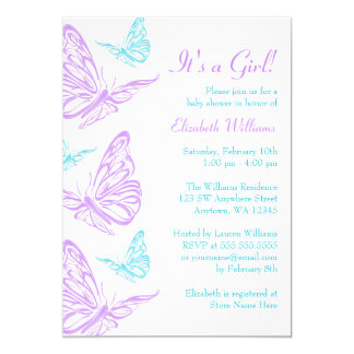 Pretty Purple Teal Butterfly Girl Baby Shower Card
