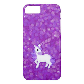 Pretty Purple Unicorn and Glitter iPhone 7 case