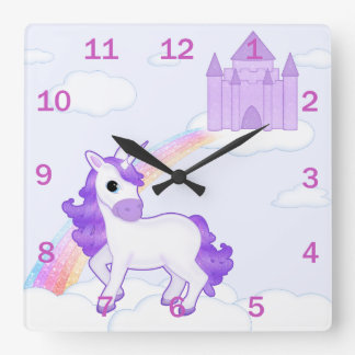 Pretty Purple Unicorn on Fairytale Background Square Wall Clock