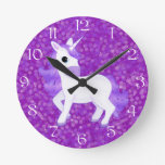 Pretty Purple Unicorn on Glitter Syle Background Clock