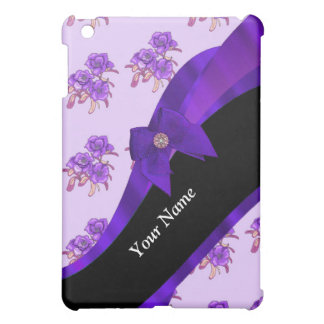 Pretty purple vintage floral flower pattern iPad mini cover
