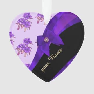 Pretty purple vintage floral flower pattern ornament