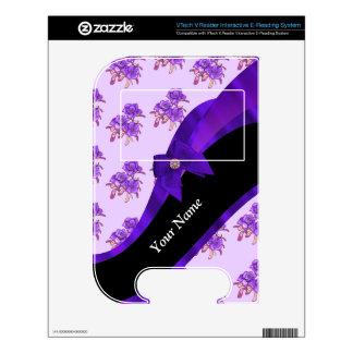 Pretty purple vintage floral flower pattern skin for VTech V.Reader