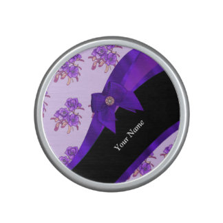 Pretty purple vintage floral flower pattern speaker