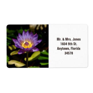 Pretty, purple water lily address label. shipping label